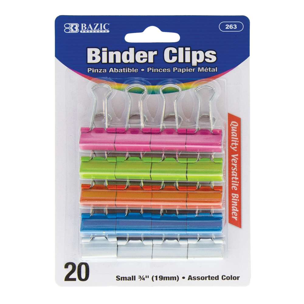 "BAZIC Small 3/4"" (19mm) Assorted Color Binder Clip (20/Pack)"