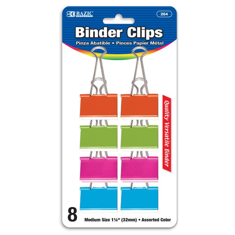"BAZIC Medium 1 1/4"" (32mm) Assorted Color Binder Clip (8/Pack)"