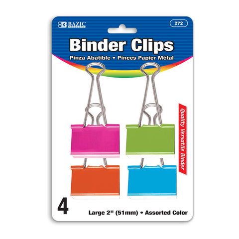 "BAZIC Large 2"" (51mm) Assorted Color Binder Clip (4/Pack)"