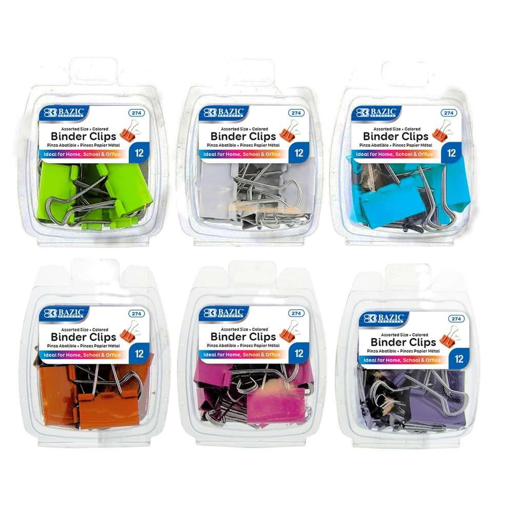 Assorted Size Color Binder Clip (12/Pack) - Bazicstore