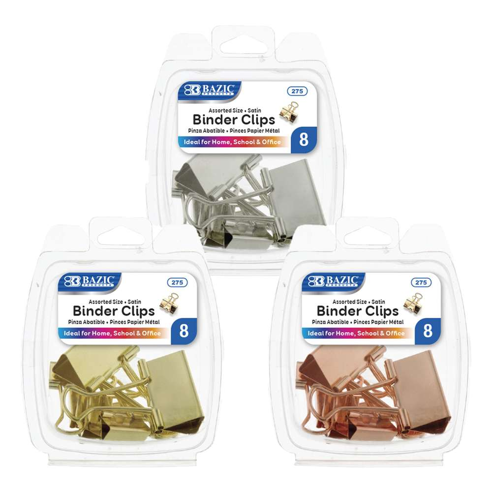 Assorted Size Satin Binder Clip (8/Pack)