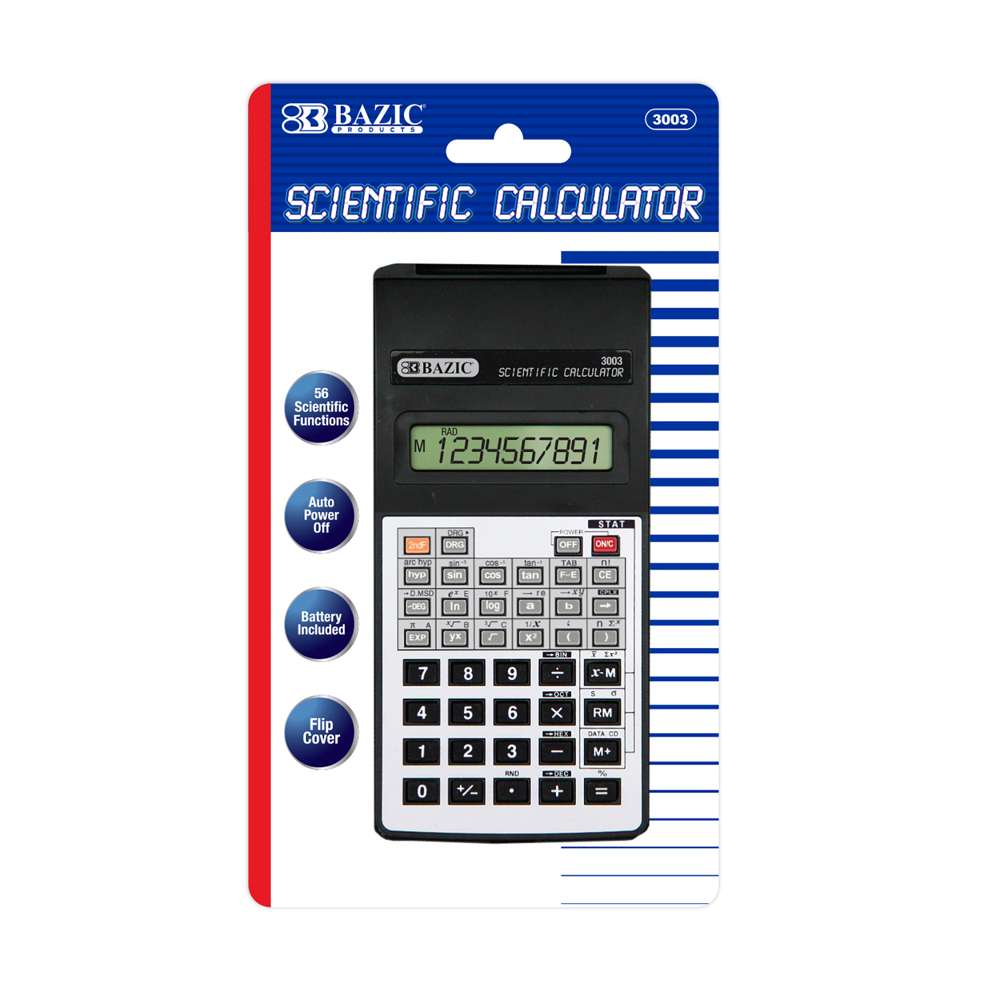 BAZIC 56 Function Scientific Calculator w/ Flip Cover