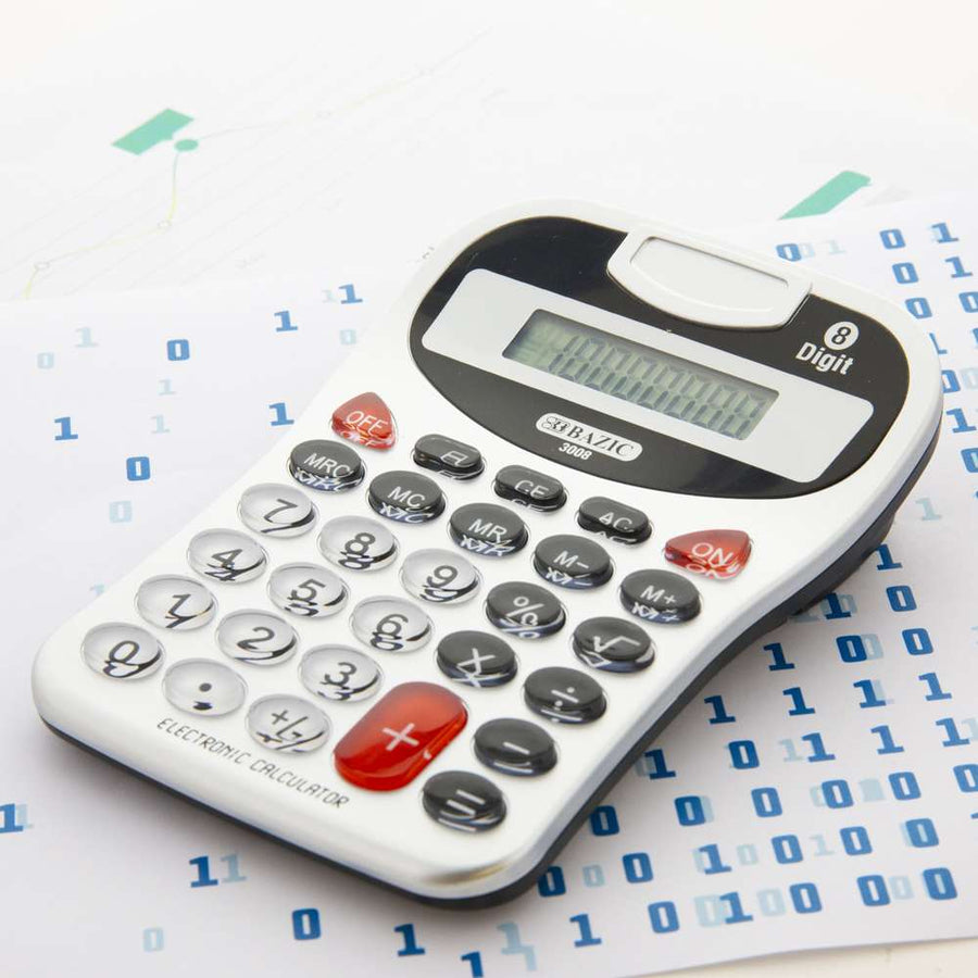 8-Digit Silver Desktop Calculator w/ Tone - Bazicstore