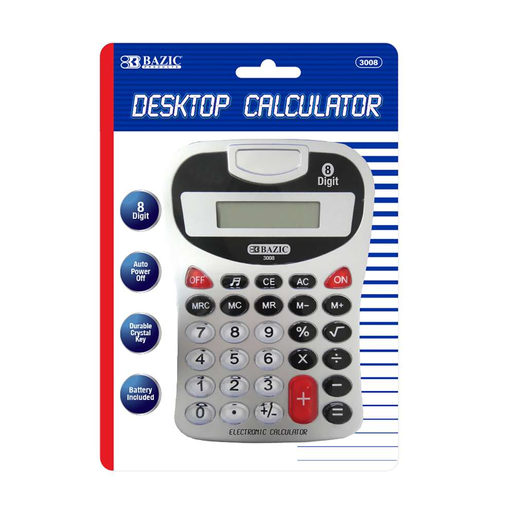 8-Digit Silver Desktop Calculator w/ Tone