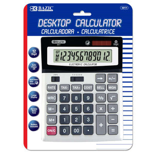 12-Digit Desktop Calculator w/ Profit Calculation & Tax Functions - Bazicstore