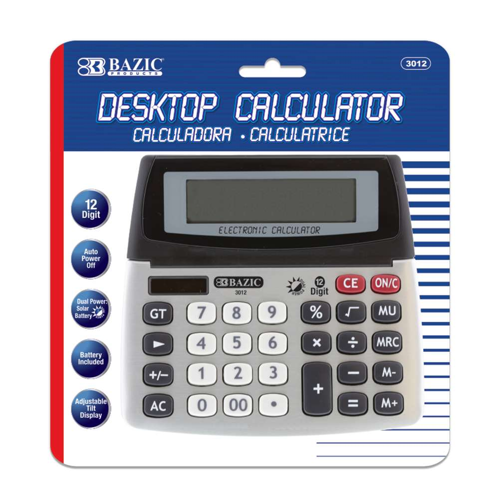 12-Digit Dual Power Desktop Calculator w/ Adjustable Display - Bazicstore