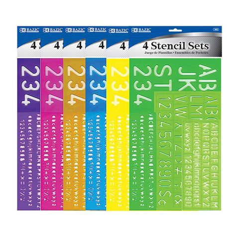 BAZIC 8, 10, 20, 30 mm Size Lettering Stencil Sets (4/Pack)
