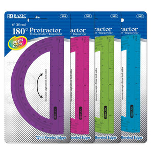 "Assorted Color Semicircular 6"" Protractor - Bazicstore"