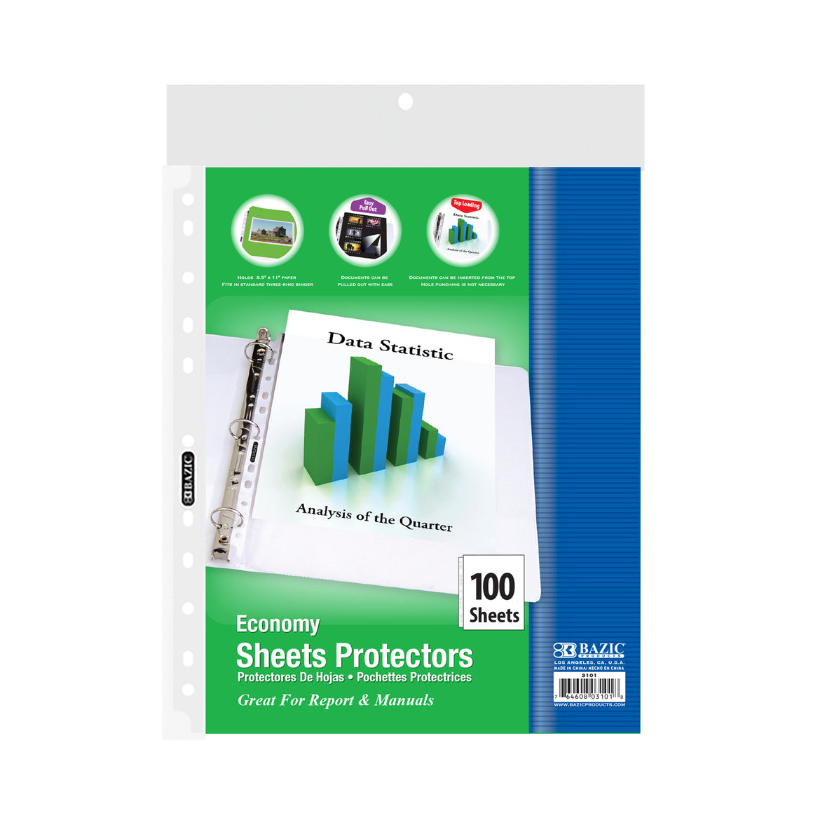Economy Weight Top Loading Sheet Protectors (100/Pack) - Bazicstore