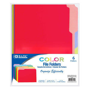 1/3 Cut Letter Size Color File Folder (6/Pack) - Bazicstore