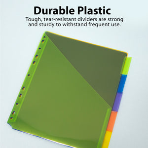 3-Ring Binder Pockets Dividers w/ 5-Insertable Color Tabs - Bazicstore