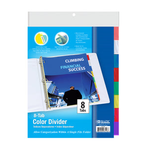 3-Ring Binder Dividers w/ 8-Insertable Color Tabs - Bazicstore