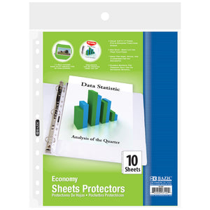 Economy Weight Top Loading Sheet Protectors (10/Pack) - Bazicstore