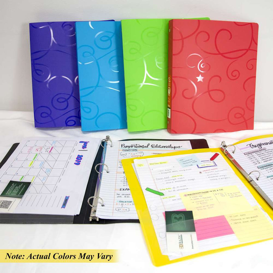 "1"" Swirl Poly 3-Ring Binder w/ Pocket - Bazicstore"
