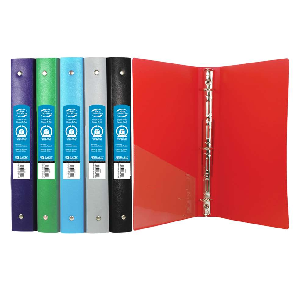 "1"" Matte Color Poly 3-Ring Binder w/ Pocket - Bazicstore"