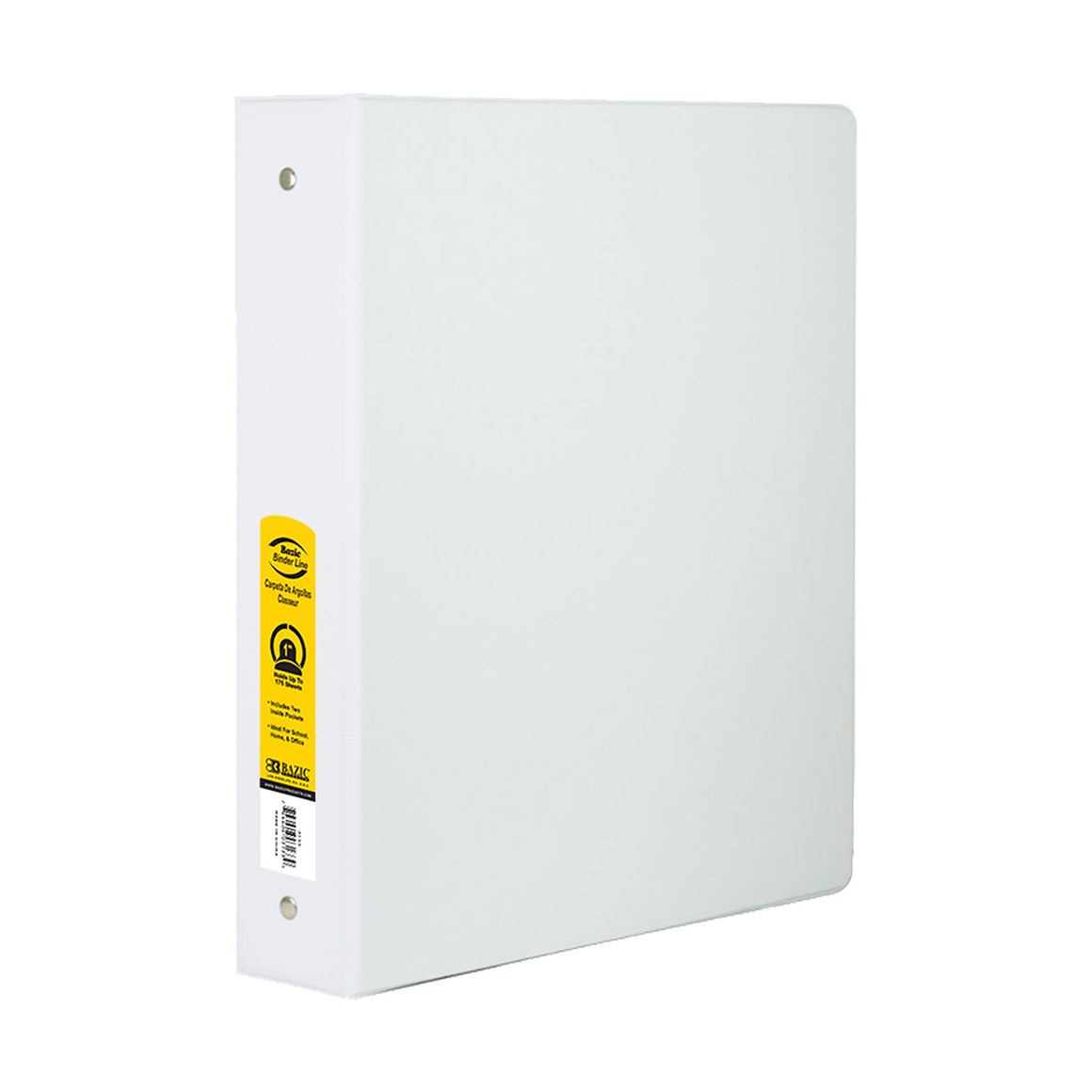 "1"" White 3-Ring Binder w/ 2-Pockets - Bazicstore"