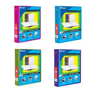 "1"" Assorted Neon Color 3-Ring View Binder w/ 2-Pockets with PDQ - Bazicstore"