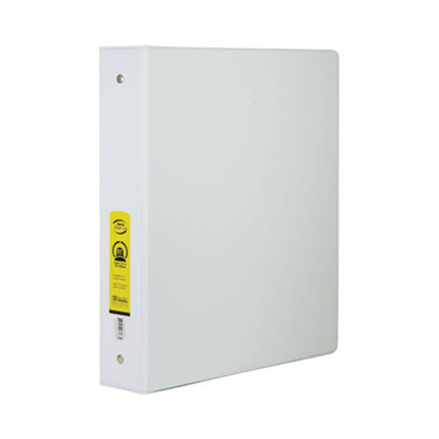 "#3138 1½"" White 3-Ring Binder w/ 2-Pockets"