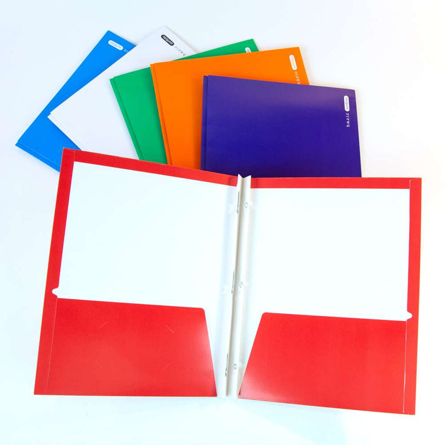 Laminated Bright Glossy Color 2-Pockets Portfolios w/ 3-Prong Fastener - Bazicstore
