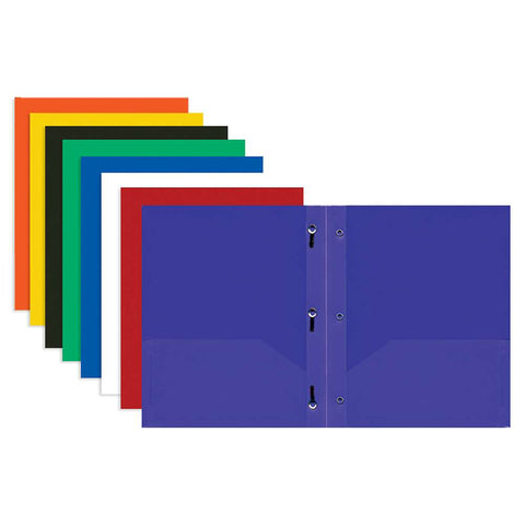 BAZIC Solid Color 2-Pockets Poly Portfolio w/ 3 Prongs
