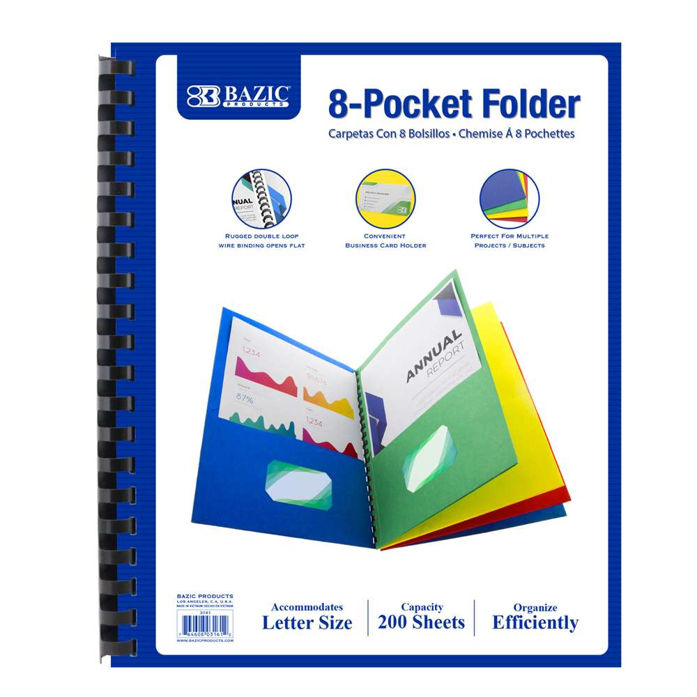 Assorted Color 8-Pockets Folder