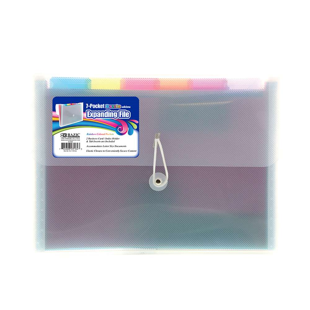 BAZIC Rainbow 7-Pocket Letter Size Poly Expanding File