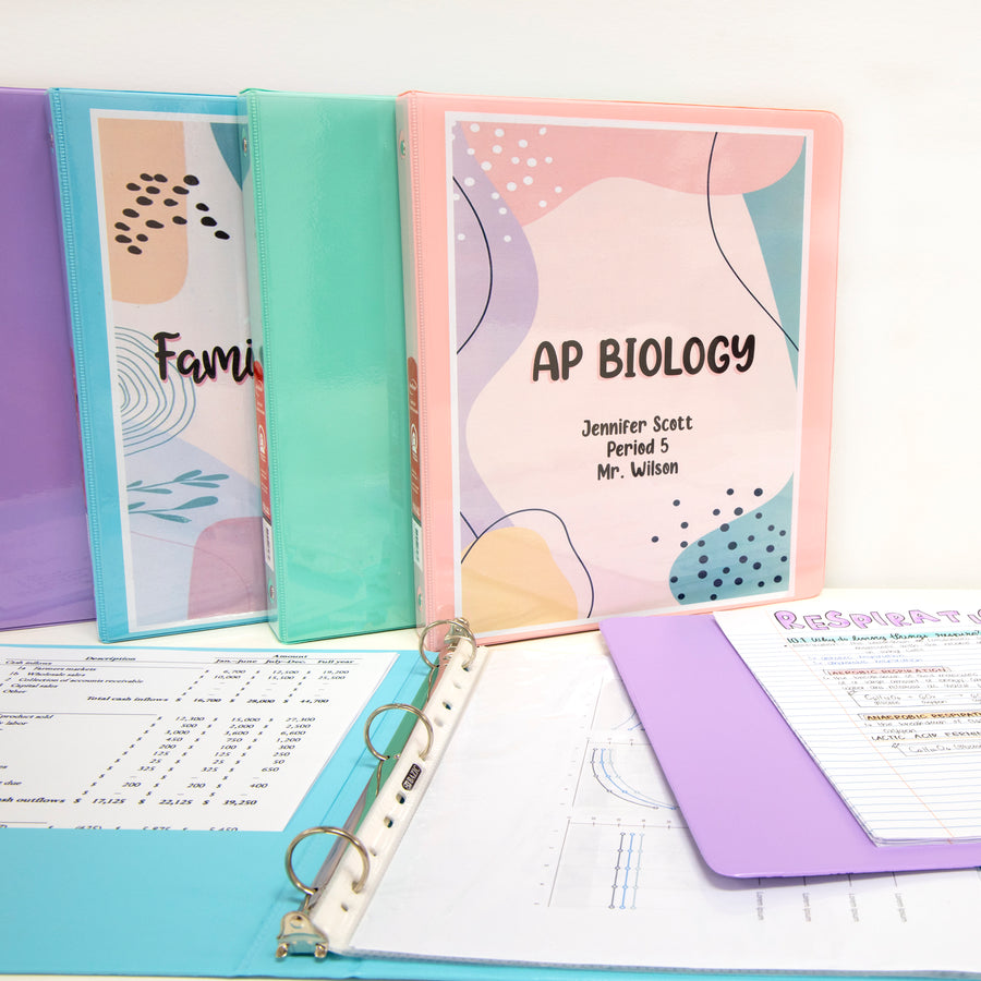 "1"" Asst. Pastel Color 3-Ring View Binder w/ 2-Pockets - Bazicstore"