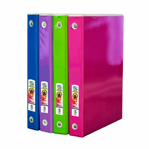 "1"" White 3-Ring Tinted View Binder w/ 2-Pockets"