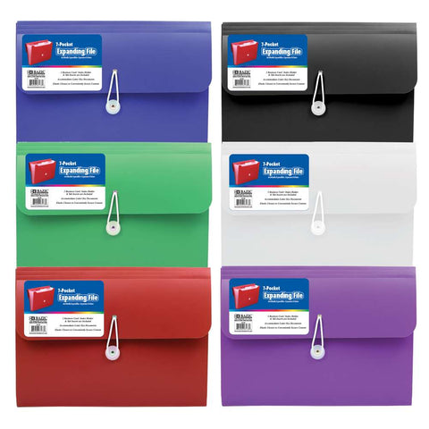 BAZIC 7-Pocket Letter Size Poly Expanding File