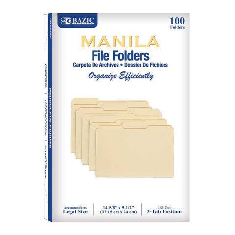 BAZIC 1/3 Cut Legal Size Manila File Folder (100/Box)