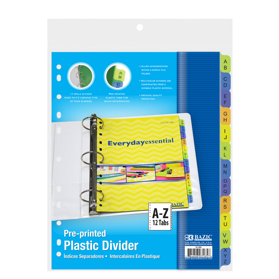 3-Ring Binder Dividers w/ 12-Preprinted A-Z Tab - Bazicstore