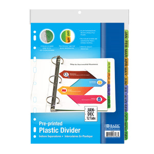 3-Ring Binder Dividers w/ 12-Preprinted Jan-Dec Tab - Bazicstore