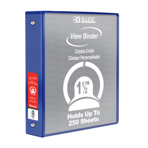 "1.5"" Blue 3-Ring View Binder w/2-Pockets - Bazicstore"