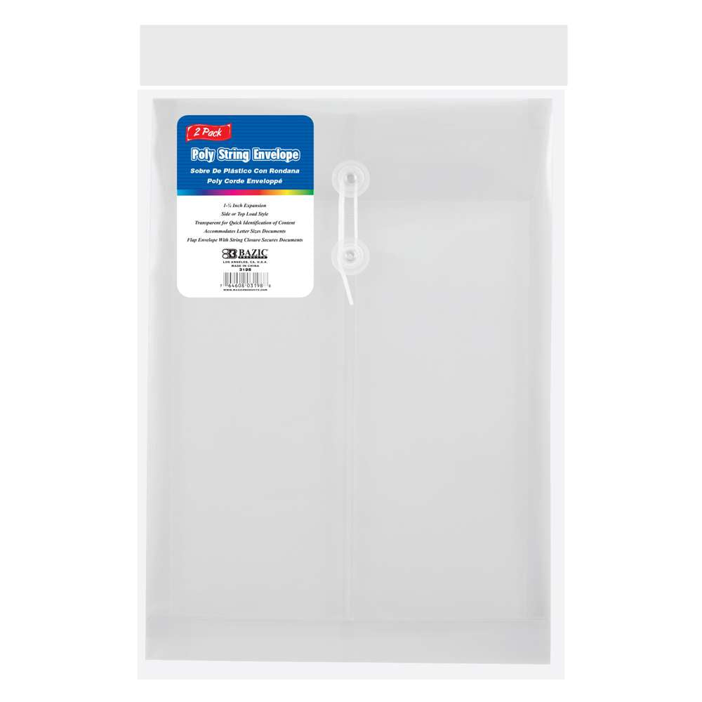 Clear Top / Side Loading Letter Size String Envelope (2/Pack) - Bazicstore
