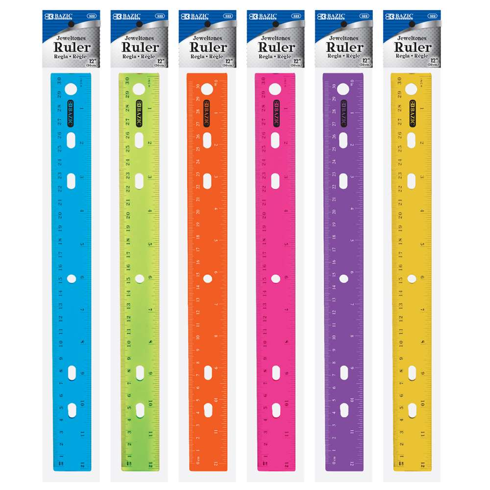 "12"" (30cm) Jeweltones Color Ruler - Bazicstore"