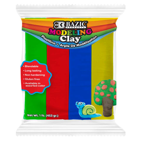 BAZIC 4 Primary Color 1lb. Modeling Clay Sticks