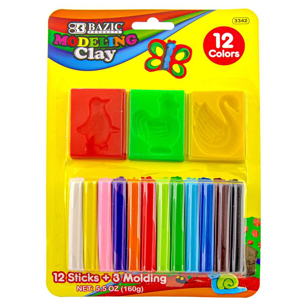 BAZIC 12 Colors 160g Modeling Clay Sticks + 3 Moldings