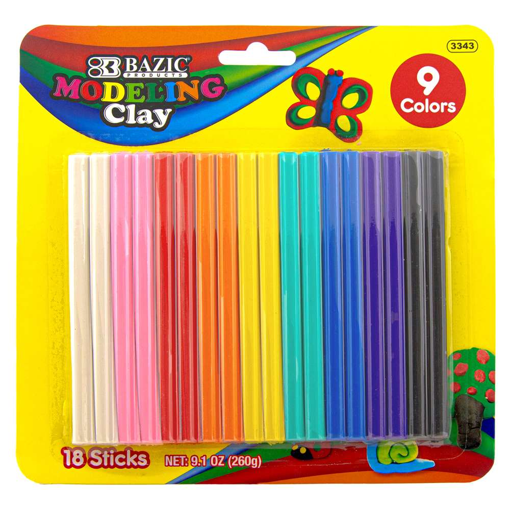 BAZIC 9 Colors 260g Modeling Clay Sticks