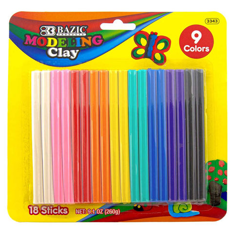 BAZIC 9 Color 260g Modeling Clay Sticks