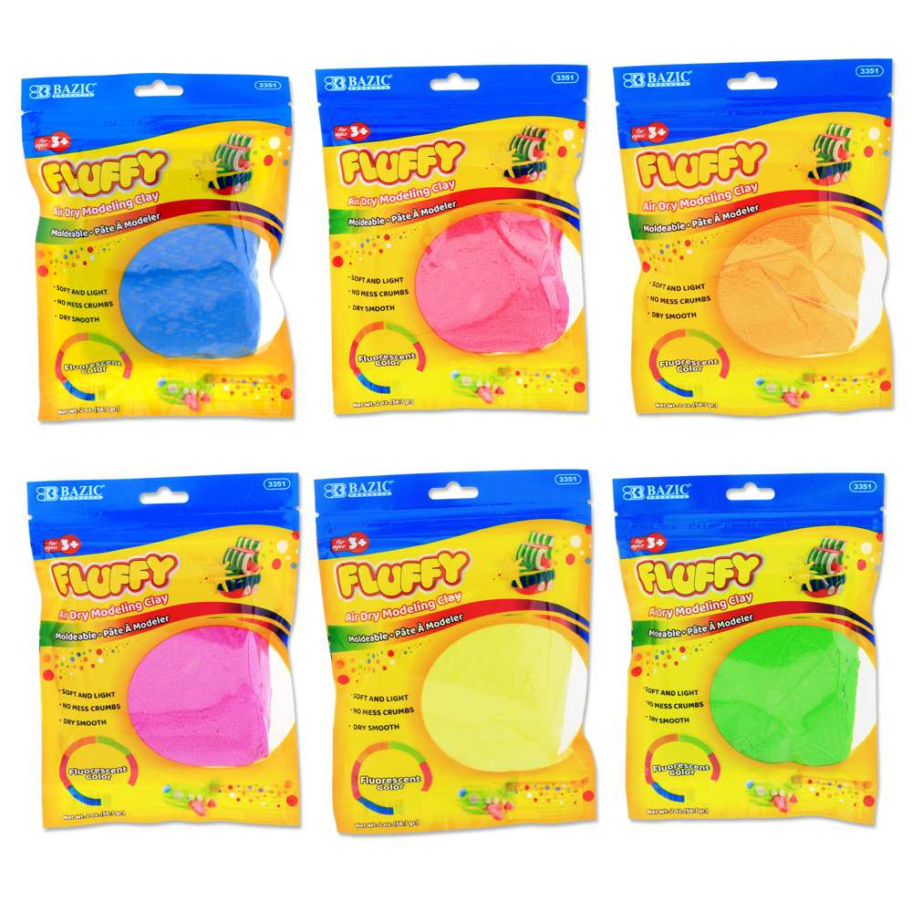 2 Oz. Fluorescent Colors Air Dry Modeling Clay
