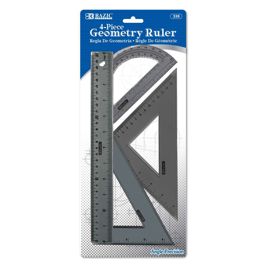 4-Piece Geometry Ruler Combination Sets - Bazicstore