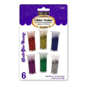 0.10oz (3g) 6 Primary Color Glitter Shaker - Bazicstore