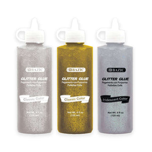 4 FL OZ (120 mL) Silver/Gold/Iridescent Color Glitter Glue - Bazicstore