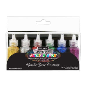 0.67 FL OZ (20 ml) 6 Classic Color Glitter Glue - Bazicstore