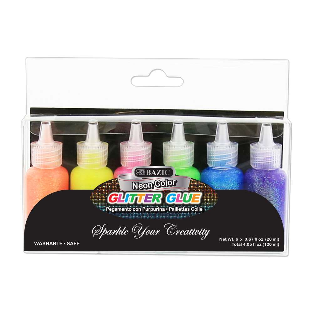 0.67 FL OZ (20 ml) 6 Neon Color Glitter Glue - Bazicstore