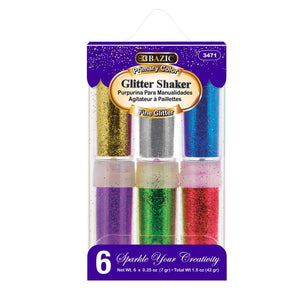 0.25 Oz (7g) 6 Primary Color Glitter Shaker - Bazicstore