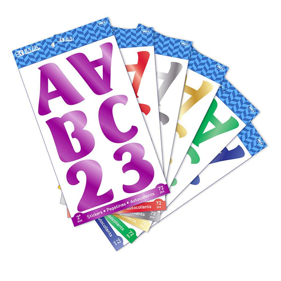 "2"" Metallic Color Alphabet & Numbers Stickers (10 SHEETS) - Bazicstore"