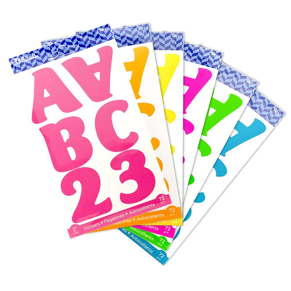 "2"" Fluorescent Color Alphabet & Number Stickers (10 SHEETS) - Bazicstore"