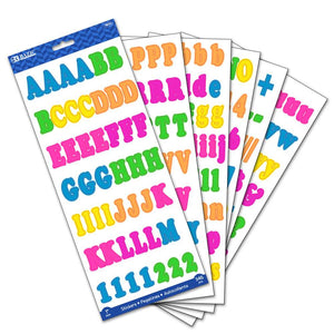 "1"" Multicolor Alphabet & Numbers Stickers (6 SHEETS) - Bazicstore"