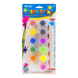 0.17 FL OZ (5 mL) 12 Color Kid's Paint w/ Brush - Bazicstore